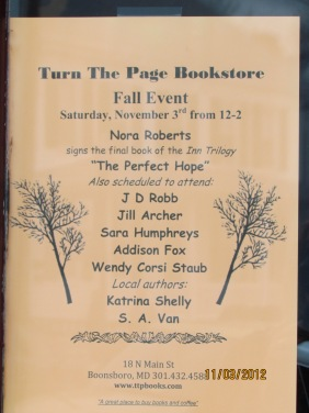 Author list for November Turn the Page book signing event