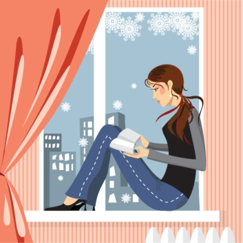 Reading by the window in winter