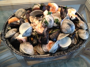 Shrimp, clams, and mussels