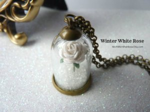 White rose snow globe pendant