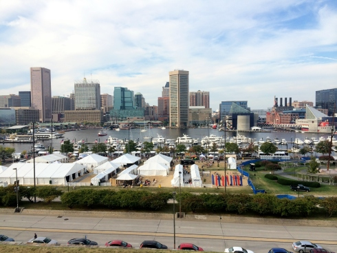 Craig took this pic from Federal Hill.  I'm standing beside MRW's tent with a friend.  Can't you see me waving? ;-)