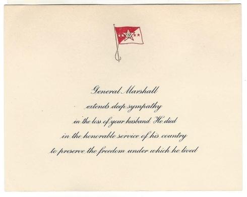 General Marshall Sympathy Card