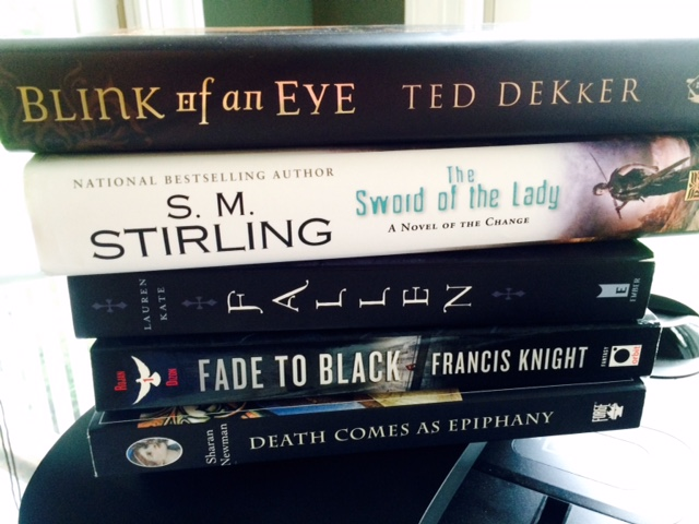 Blink of an Eye, Ted Dekker, The Sword of the Lady, S.M. Stirling, Fallen, Lauren Kate, Fade to Black, Francis Knight, Death Comes as Epiphany, Sharan Newman, book spine poetry, flash fiction, Jill Archer, 1 of 6