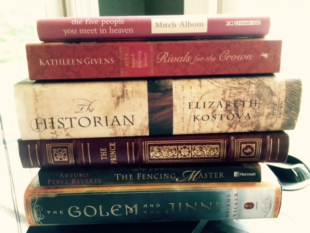 the five people you meet in heaven, Mitch Albom, Rivals for the Crown, Kathleen Givens, The Historian, Elizabeth Kostova, The Prince, Machiavelli, The Fencing Master, Arturo Perez-Reverte, The Golem and the Jinni, Helene Wecker, book spine poetry, flash fiction, Jill Archer, 2 of 6