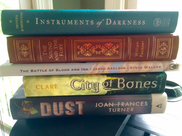 Instruments of Darkness, Imogen Robertson, The Sound and the Fury, William Faulkner, The Battle of Blood and Ink, Jared Axelrod, Steve Walker, City of Bones, Cassandra Clare, Dust, Joan Francis Turner, book spine poetry, flash fiction, Jill Archer, 3 of 6