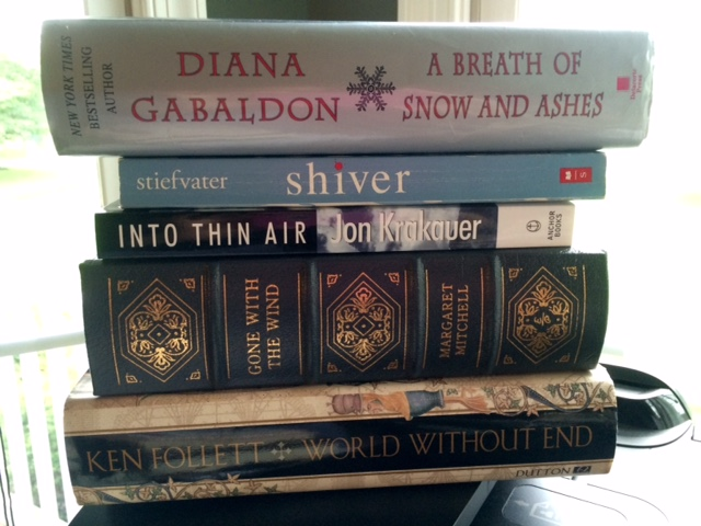 A Breath of Snow and Ashes, Diana Gabaldon, Shiver, Maggie Stiefvater, Into Thin Air, Jon Krakauer, Gone With the Wind, Margaret Mitchell, World Without End, Ken Follett, book spine poetry, flash fiction, Jill Archer, 4 of 6