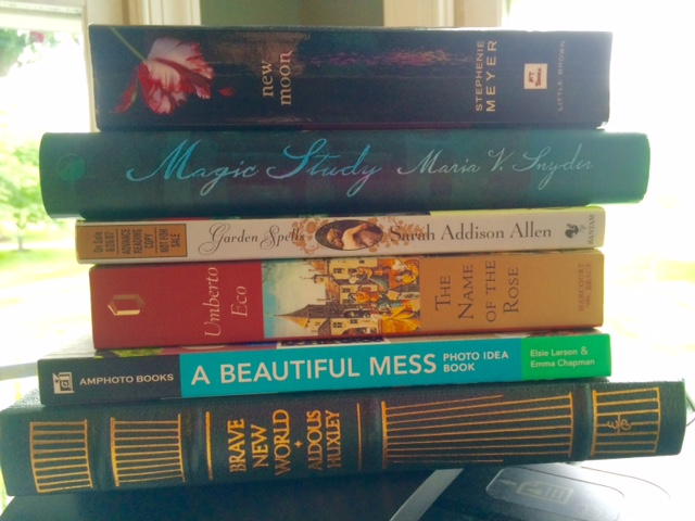 New Moon, Stephenie Meyer, Magic Study, Maria V. Snyder, Garden Spells, Sarah Addison Allen, The Name of the Rose, Umberto Eco, A Beautiful Mess, Elsie Larson, Emma Chapman, Brave New World, Aldous Huxley, book spine poetry, flash fiction, Jill Archer, 6 of 6